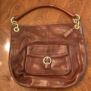 Coach Leather Hobo in Chocolate Brown